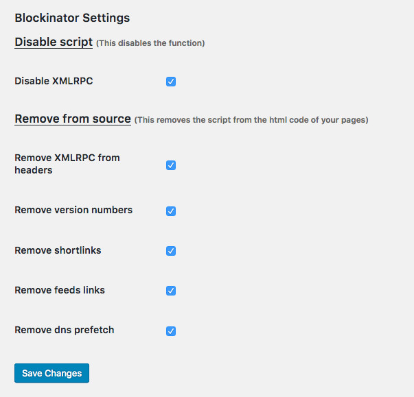 Blockinator Wordpress plugin