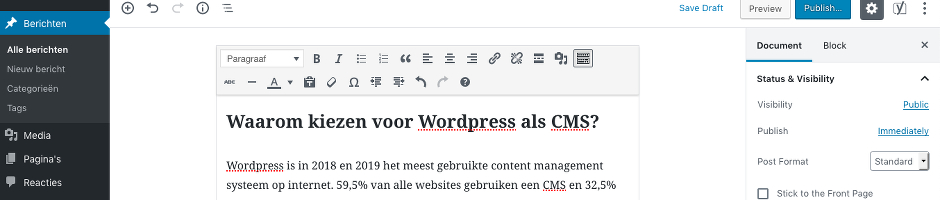 Wordpress beheer